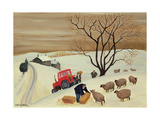 Taking Hay to the Sheep by Tractor Giclee Print by Margaret Loxton