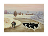 Cows in a Winter River Giclee Print by Margaret Loxton
