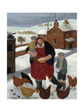 Backyard in Winter Giclee Print by Margaret Loxton