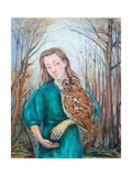 Girl with Owl, 2012 Giclee Print by Silvia Pastore