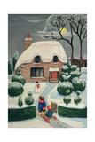 Tobogganing Giclee Print by Margaret Loxton