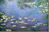 Waterlilies Sträckt Canvastryck av Claude Monet