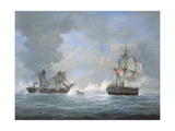 The Action Between U.S and the British 'Macedonian' Frigate Off the Canary Islands on Oct 25, 1812 Giclee Print by Richard Willis