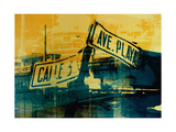 Green and Yellow Street Sign Giclee Print by David Studwell