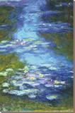 Vannliljer Trykk på strukket lerret av Claude Monet