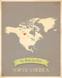 My Roots North America Map - clay Prints by Rebecca Peragine