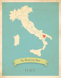 Italy My Roots Map, blue version (includes stickers) Prints by Rebecca Peragine