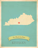Kentucky My Roots Map, blue version (includes stickers) Art by Rebecca Peragine