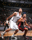 Oct 17, 2013, Miami Heat vs Brooklyn Nets - Brook Lopez, Shane Battier Photo by Nathaniel S. Butler