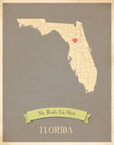 Florida My Roots Map, clay version (includes stickers) Prints by Rebecca Peragine