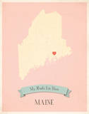 Maine My Roots Map, pink version (includes stickers) Print by Rebecca Peragine