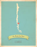 My Roots Chile Map -blue Poster by Rebecca Peragine