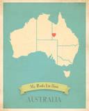 Australia My Roots Map, blue version (includes stickers) Poster par Rebecca Peragine