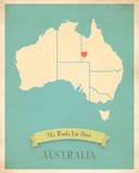 My Roots Australia Map - blue Poster by Rebecca Peragine