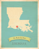 Louisiana My Roots Map, blue version (includes stickers) Poster by Rebecca Peragine