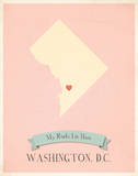 My Roots District of Columbia Map - pink Prints by Rebecca Peragine