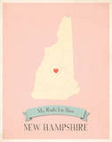 New Hampshire My Roots Map, pink version (includes stickers) Poster by Rebecca Peragine
