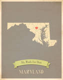 Maryland My Roots Map, clay version (includes stickers) Prints by Rebecca Peragine