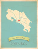 My Roots Costa Rica Map - blue Prints by Rebecca Peragine