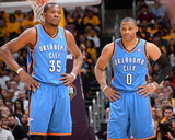 Mar 9, 2014, Oklahoma City Thunder vs Los Angeles Lakers - Kevin Durant, Russell Westbrook Photo af Andrew Bernstein