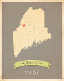 Maine My Roots Map, clay version (includes stickers) Prints by Rebecca Peragine