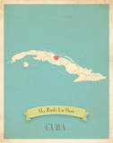 My Roots Cuba Map - blue Posters by Rebecca Peragine
