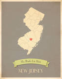 New Jersey My Roots Map, clay version (includes stickers) Print by Rebecca Peragine