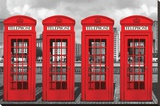 London - Phoneboxes Stretched Canvas Print