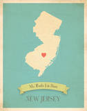 New Jersey My Roots Map, blue version (includes stickers) Prints by Rebecca Peragine