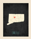 Connecticut Personalized State Map (includes stickers) Prints by Rebecca Peragine