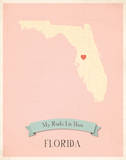 Florida My Roots Map, pink version (includes stickers) Poster by Rebecca Peragine