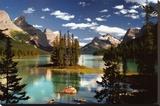 Île Spirit, Lac Maligne, parc national de Jasper, Canada Reproduction sur toile tendue