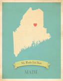 Maine My Roots Map, blue version (includes stickers) Prints by Rebecca Peragine