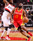 Apr 5, 2013, Houston Rockets vs Portland Trail Blazers - James Harden, Wesley Matthews Photographic Print by Sam Forencich