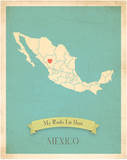 My Roots Mexico Map - blue Prints by Rebecca Peragine