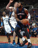 Jan 5, 2014, Memphis Grizzlies vs Detroit Pistons - Andre Drummond, Kosta Koufos Photographic Print by Allen Einstein