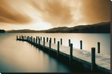 Wooden Landing Jetty-Color Stretched Canvas Print