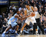 Mar 26, 2014, Denver Nuggets vs San Antonio Spurs - Tim Duncan, Kenneth Faried Photographic Print by D. Clarke Evans