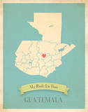 Guatemala My Roots Map, blue version (includes stickers) Posters by Rebecca Peragine