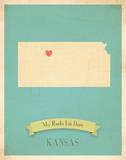 Kansas My Roots Map, blue version (includes stickers) Kunstdrucke von Rebecca Peragine