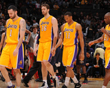 Mar 4, 2014, New Orleans Pelicans vs Los Angeles Lakers - Pau Gasol, Wesley Johnson, Jordan Farmar Photographic Print by Andrew Bernstein