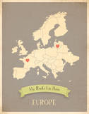 Europe My Roots Map, clay version (includes stickers) Prints by Rebecca Peragine