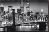 New York Manhattan 's nachts Kunstdruk op gespannen doek van Richard Berenhotlz