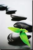 Zen Stones-Green Stretched Canvas Print