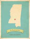 My Roots Mississippi State Map - blue Posters by Rebecca Peragine