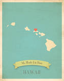 My Roots Hawaii State Map - blue Posters by Rebecca Peragine