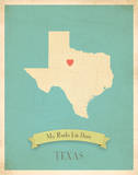 Texas My Roots Map, blue version (includes stickers) Prints by Rebecca Peragine