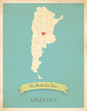 My Roots Argentina Map - blue Posters by Rebecca Peragine