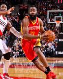 Apr 5, 2013, Houston Rockets vs Portland Trail Blazers - James Harden Fotografisk tryk af Sam Forencich