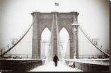 Brooklyn Bridge Winter Stretched Canvas Print